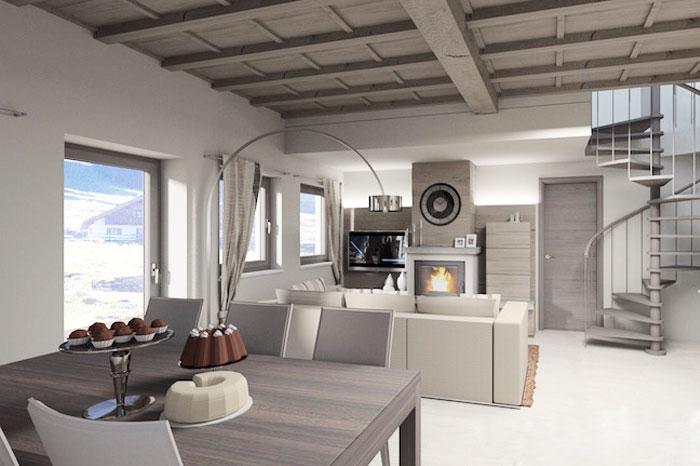 Progettazione d'interni: sala con camino, angolo living e scala a chiocciola